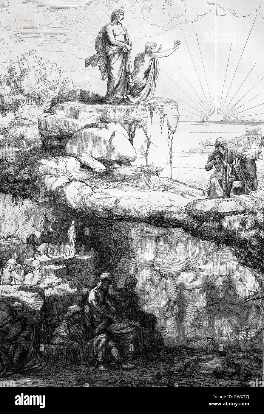 Platons Hoehle, Allegorie auf das Hoehlengleichnis von Platon, antike Philosophie  /  Plato's cave, allegory of Plato's allegory of the cave, ancient philosophy - Stock Image