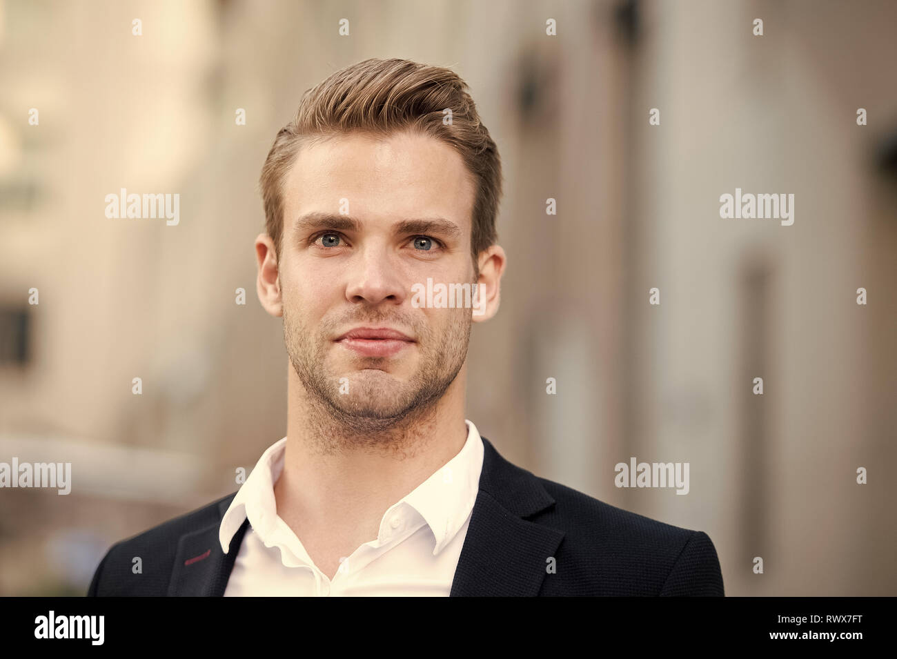 Businessman stand on urban background. Confident man in formal wear outdoor. This is my city. Male grooming for ceo at barbershop. Thinking about new possibilities. Confidence and charisma. - Stock Image