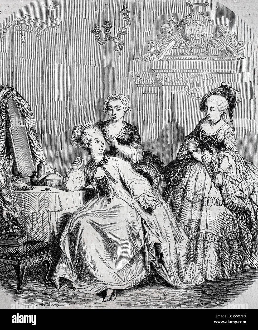 elegante Frauen beim Frisieren, zur Zeit von Ludwig XV., 1750, Frankreich  /  elegant women dressing, at the time of ludwig xv., 1750, france - Stock Image