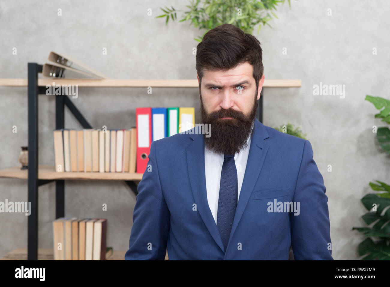 Mental process of choosing from set of alternatives. Hard decision. Business decision. Man bearded businessman thoughtful face solving problem making decision. Decision making is part of management. - Stock Image