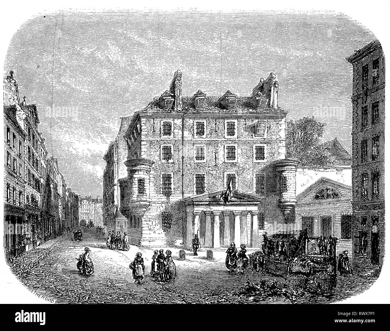 Gefängnis der Abtei Saint-Germain des Pres, Prison de l'Abbaye war ein Staatsgefängnis, Prison d'Etat, in Paris, das von 1522 bis 1854 genutzt wurde, abgerissen 1854  /  prison of abbey saint-germain des pres, prison de l'abbaye was a state prison, prison d'etat, in paris, which was used from 1522 to 1854, demolished in 1854 - Stock Image