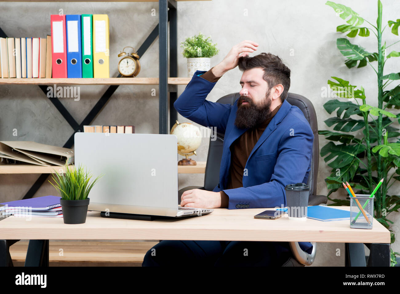 Forgot password. Man bearded boss manager sit office with laptop. Manager solving business problems online. Business man failed. Risky business. Broker and financial indicators. Falling stock prices. - Stock Image