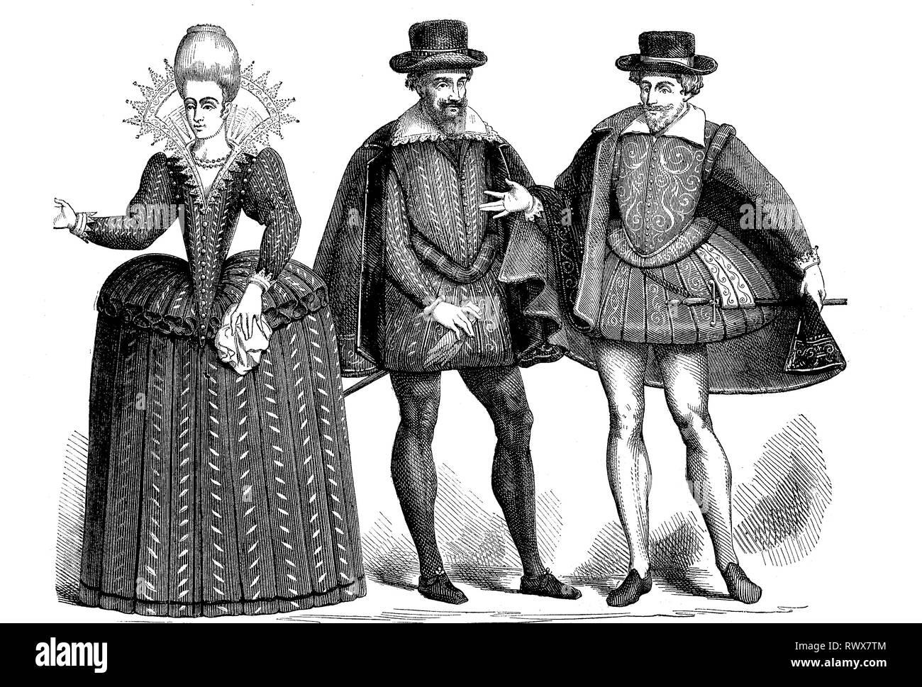 Eine Dame und zwei Herren in der Mode von 1605, Paris, Frankreich  /  A lady and two gentlemen in the fashion of 1605, Paris, France - Stock Image