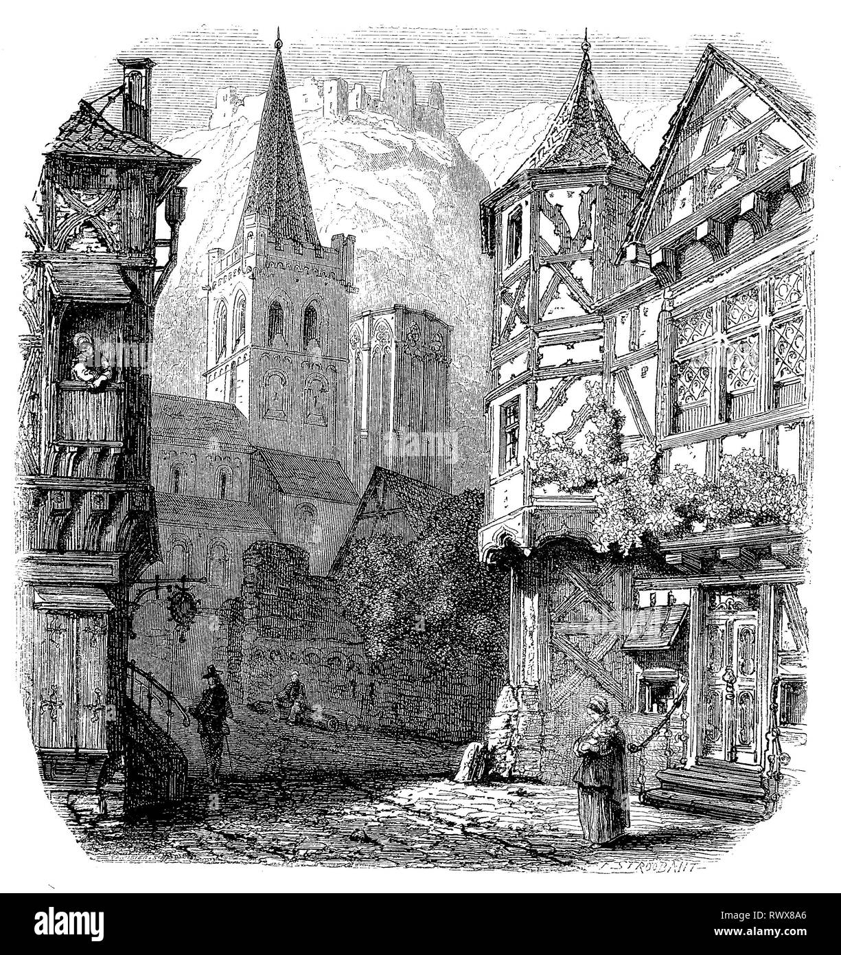 Bacharach am Rhein, Rheinland Pfalz, Deutschland   /  Bacharach, a town in the Mainz-Bingen district in Rhineland-Palatinate, Germany - Stock Image
