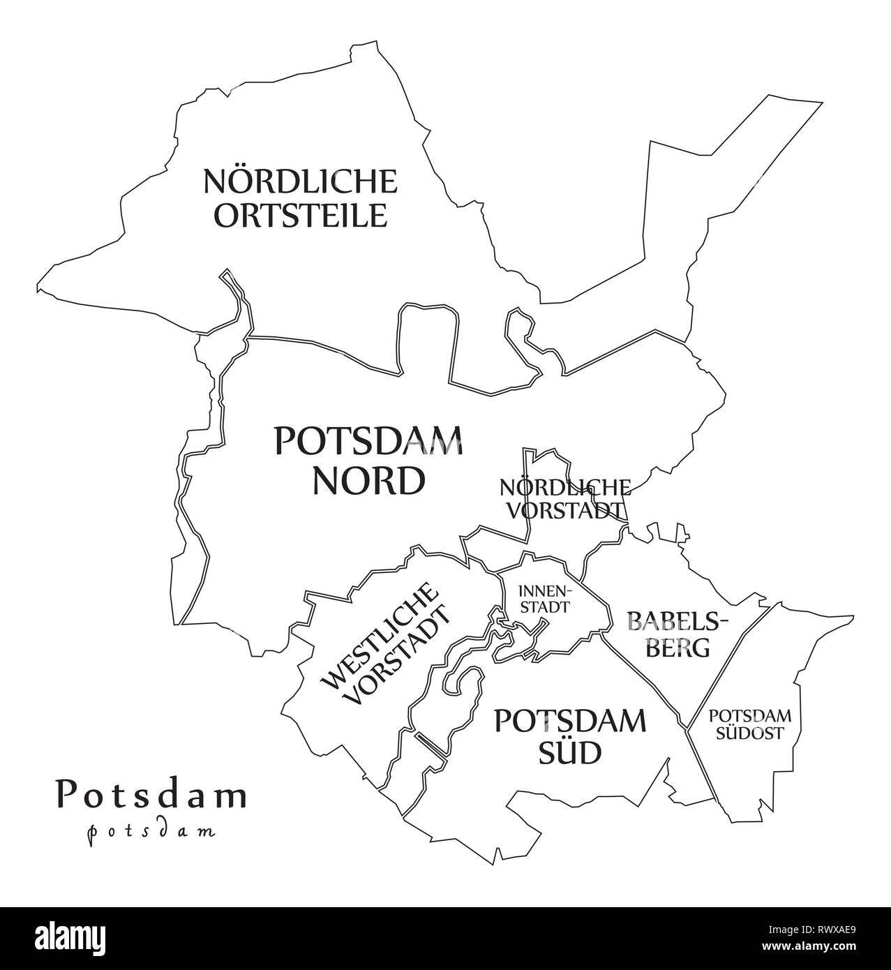 Outline Map Of Germany.Modern City Map Potsdam City Of Germany With Boroughs And Titles