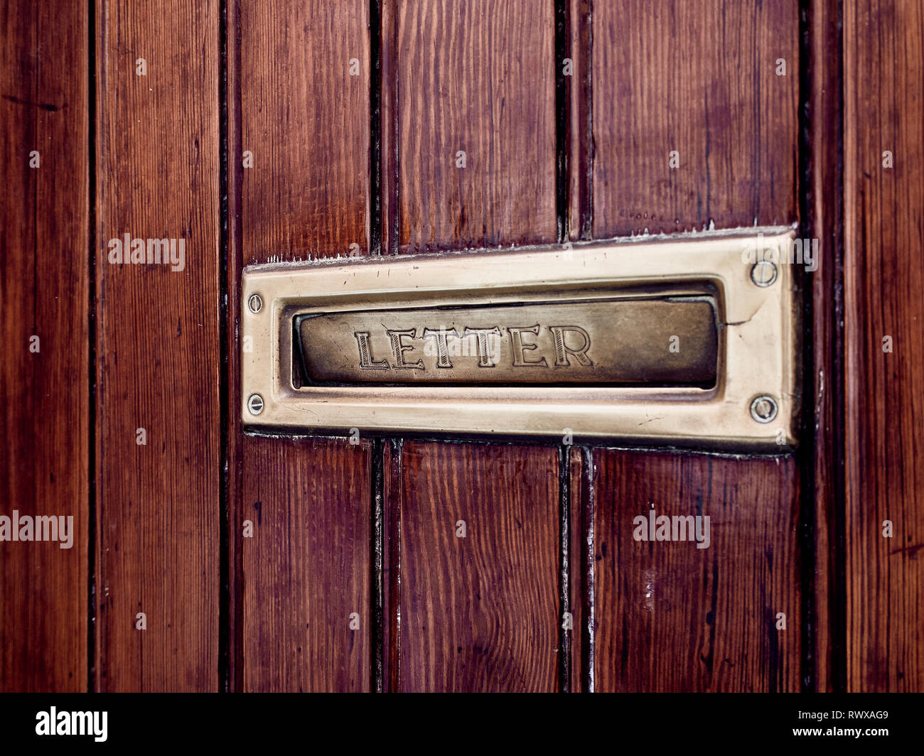 Mail letter box contained on a wooden doors with gold details - Stock Image