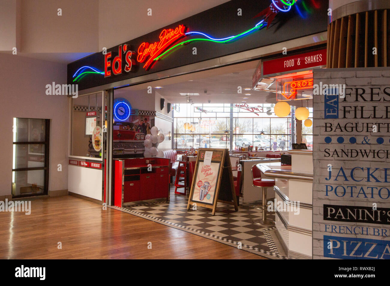 The owner of Giraffe and Ed's Easy Diner is to close 27 restaurants putting hundreds of jobs at risk. The brands will enter a company voluntary arrangement (CVA) and close almost a third of their 87 restaurants. Boparan Restaurant Group (BRG) said sales had improved at the chains since they were acquired in 2016, but several sites remained unprofitable. - Stock Image