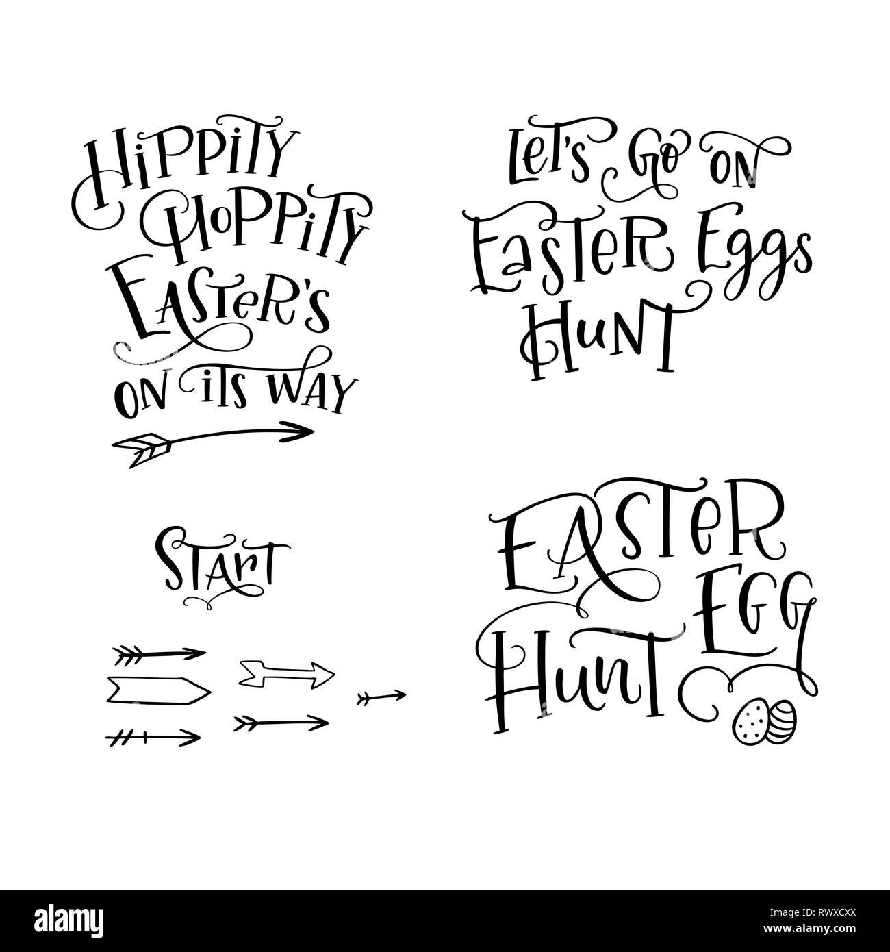 Set of hand drawn lettering phrase 'Easter Egg Hunt', 'Hippity, Hoppity Easter's on Its Way', 'Let's go on Easter Eggs Hunt', 'Start'. Handwritten cal - Stock Image