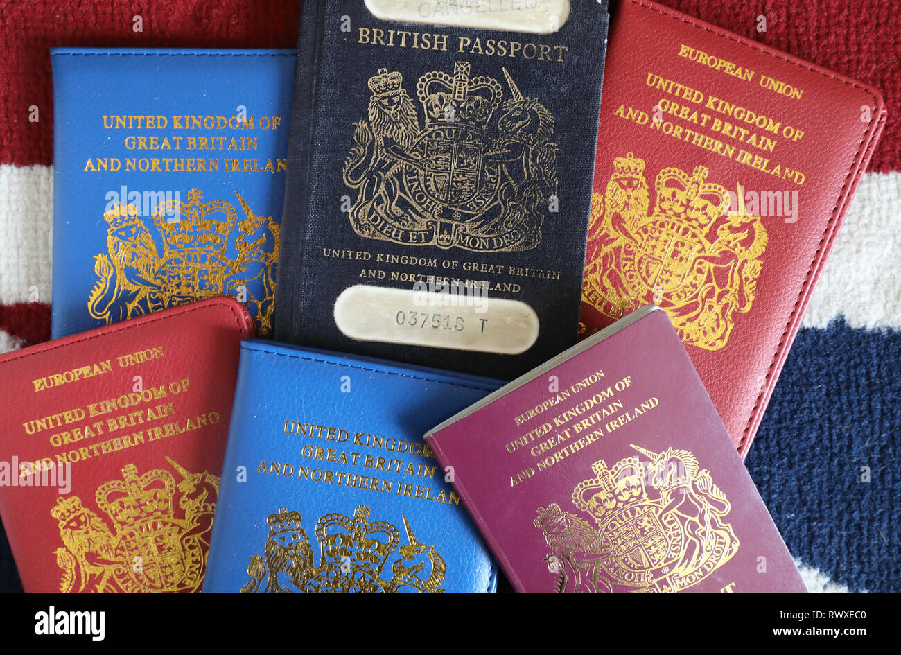 Brexit - old and new style British passports, depending on the EU outcome. - Stock Image