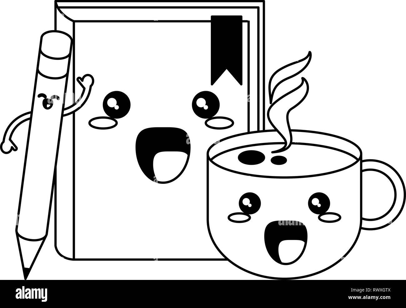 School Utensils Kawaii Cartoons In Black And White Stock