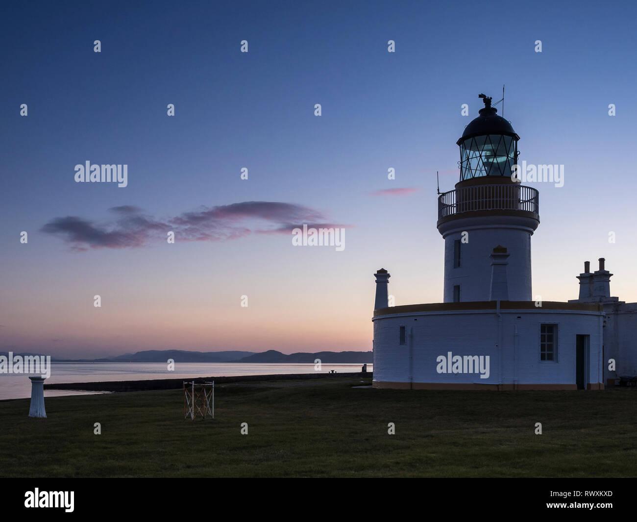 Chanonry Point Lighthouse at sunset, Black Isle, Highland, Scotland - Stock Image