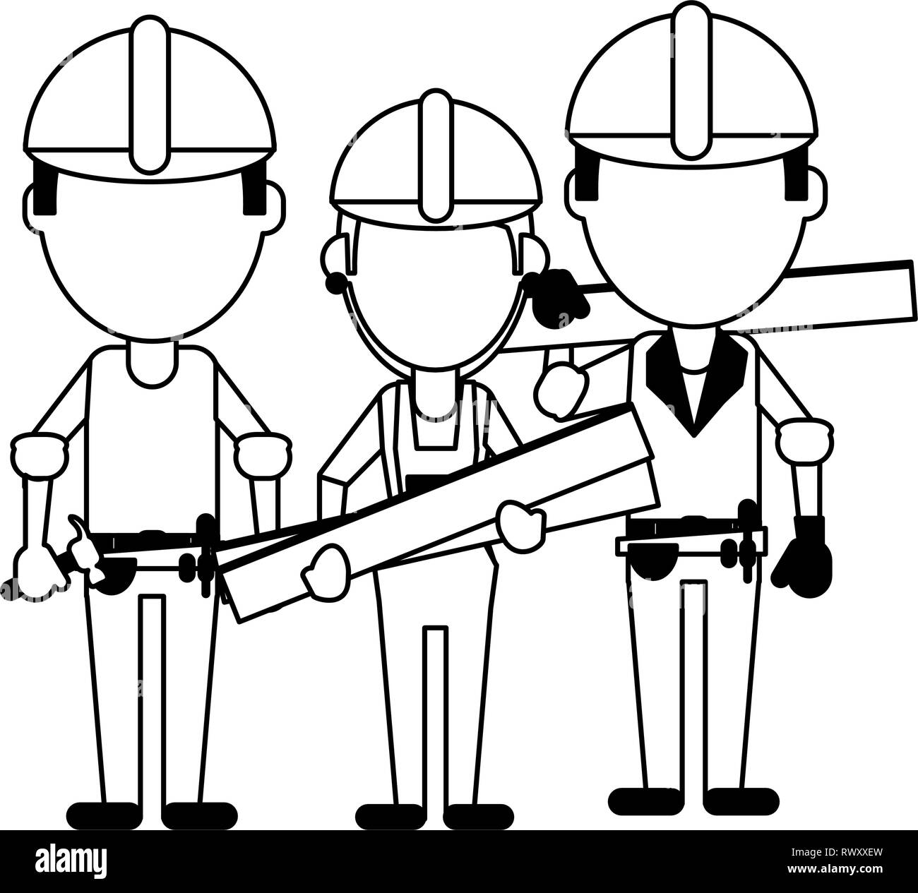 Construction workers avatars in black and white - Stock Image