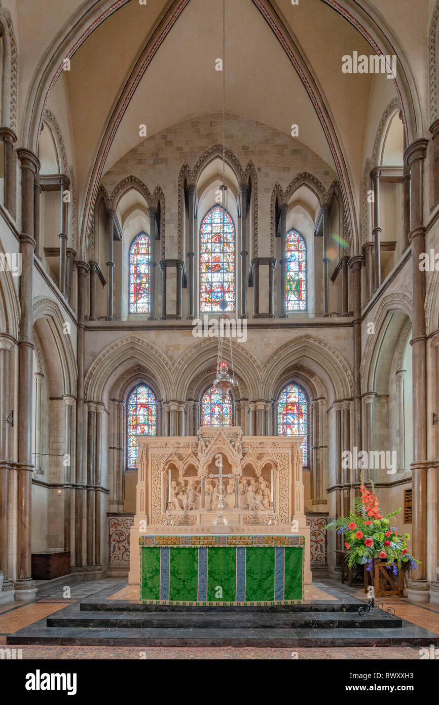 View of Rochester Cathedral, formally the Cathedral Church of Christ and the Blessed Virgin Mary in the Kent, South east England city or Rochester Stock Photo