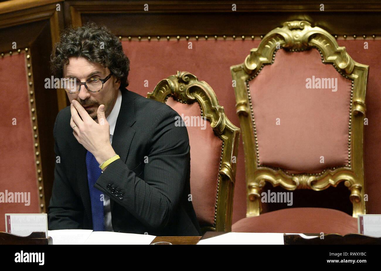 Foto Fabio Cimaglia / LaPresse 07-03-2019 Roma Politica Senato. Question Time Nella foto Danilo Toninelli   Photo Fabio Cimaglia / LaPresse 07-03-2019 Roma (Italy) Politic Senate. Question Time In the pic Danilo Toninelli - Stock Image