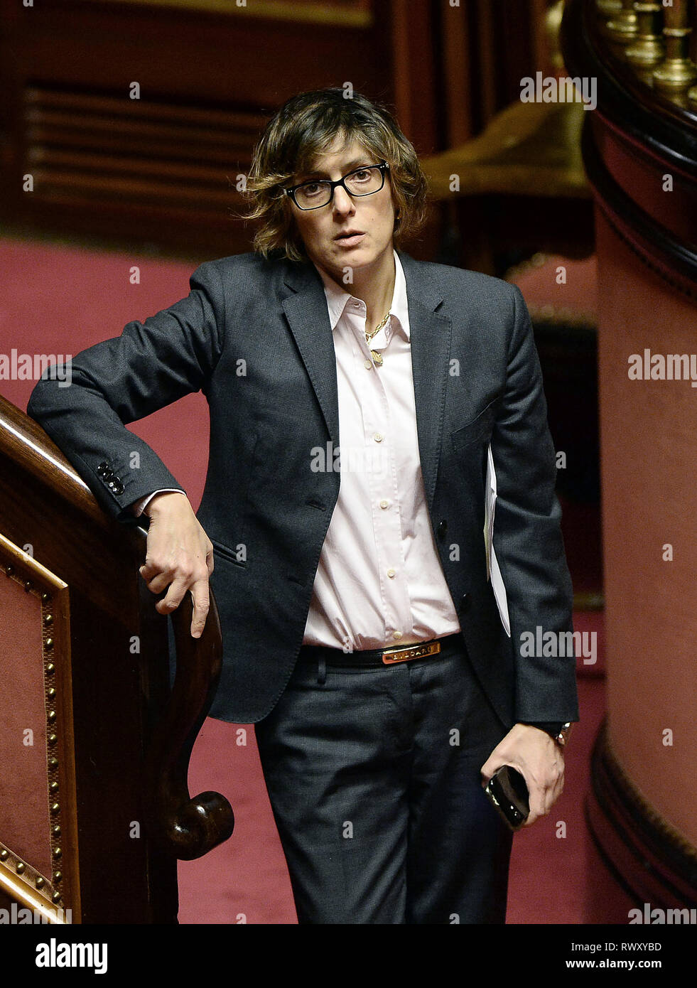 Foto Fabio Cimaglia / LaPresse 07-03-2019 Roma Politica Senato. Question Time Nella foto Giulia Bongiorno   Photo Fabio Cimaglia / LaPresse 07-03-2019 Roma (Italy) Politic Senate. Question Time In the pic Giulia Bongiorno Stock Photo