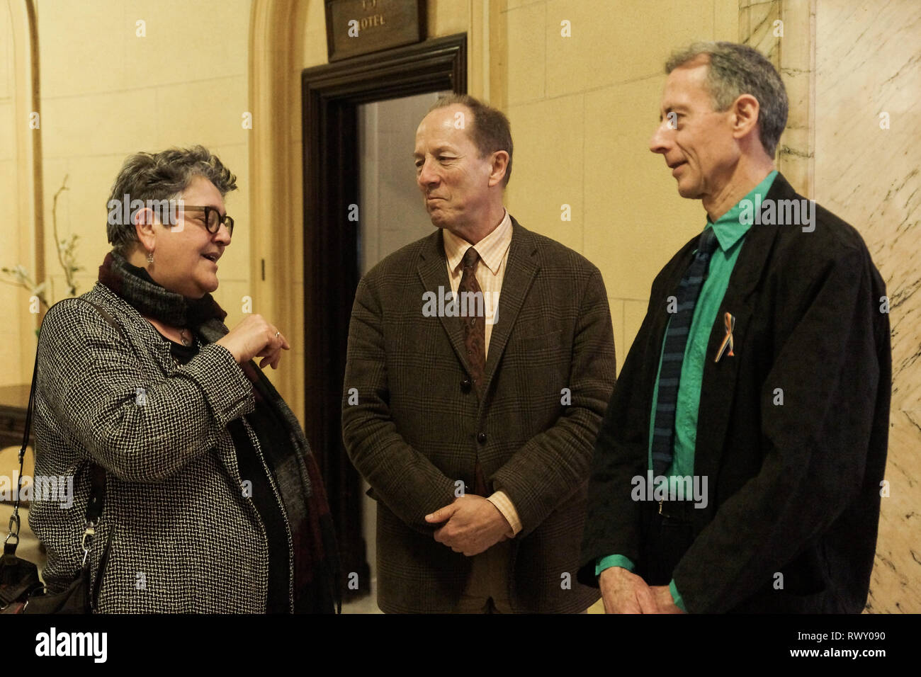 London, UK. 07th Mar, 2019. Baroness Liz Barker, Rupert Morriss, Peter Tatchell.Nicholas Parsons, actor and host of long-running Just a Minute, Peter Tatchell, human rights activist, and Valerie Brandes, founder and publisher of Jacaranda Books accept Honorary Membership of the National Liberal Club at a luncheon hosted by NLC Chairman, Rupert Morriss. Credit: Peter Hogan/Alamy Live News - Stock Image