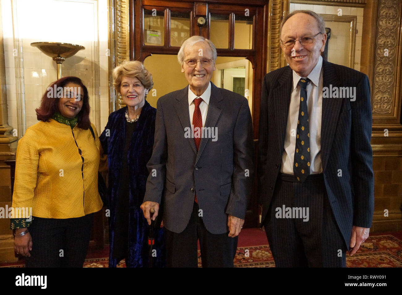 London, UK. 07th Mar, 2019. Sunny Singh, Annie Parsons, Nicholas Parsons, Nicholas Parsons, actor and host of long-running Just a Minute, Peter Tatchell, human rights activist, and Valerie Brandes, founder and publisher of Jacaranda Books accept Honorary Membership of the National Liberal Club at a luncheon hosted by NLC Chairman, Rupert Morriss. Credit: Peter Hogan/Alamy Live News - Stock Image