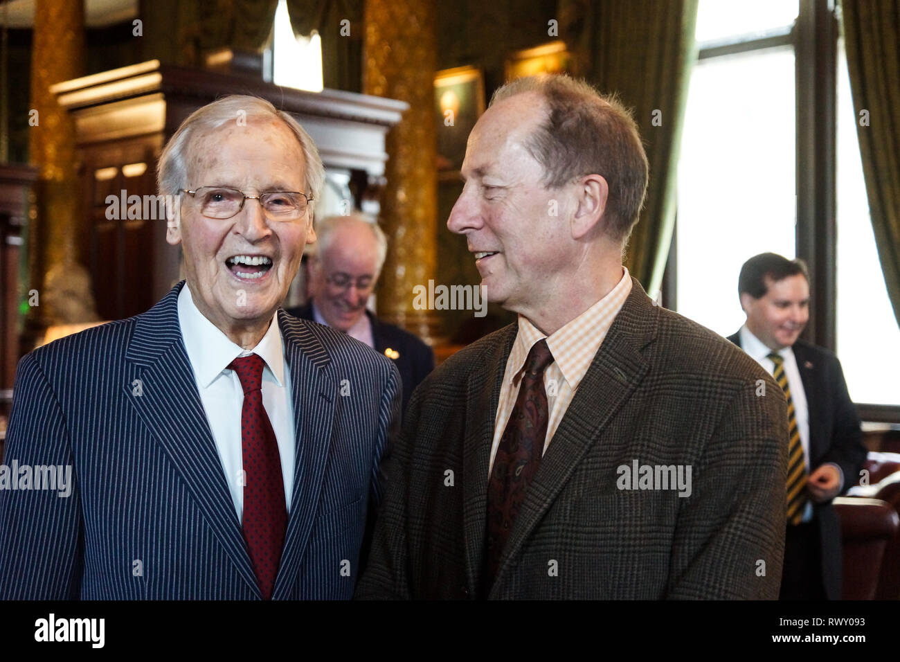 London, UK. 07th Mar, 2019. Nicholas Parsons, Rupert Morriss.Nicholas Parsons, actor and host of long-running Just a Minute, Peter Tatchell, human rights activist, and Valerie Brandes, founder and publisher of Jacaranda Books accept Honorary Membership of the National Liberal Club at a luncheon hosted by NLC Chairman, Rupert Morriss. Credit: Peter Hogan/Alamy Live News - Stock Image