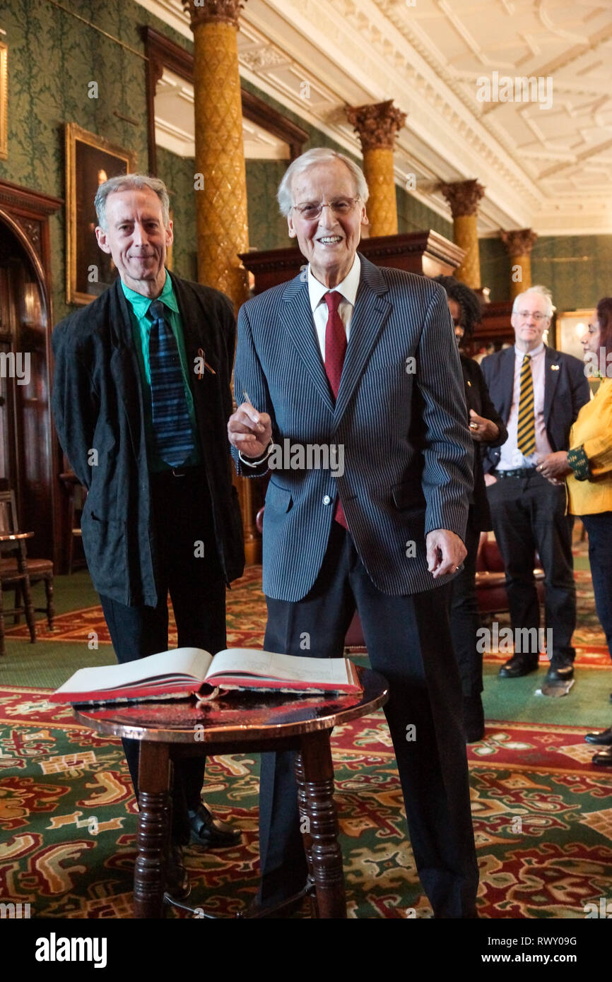 London, UK. 07th Mar, 2019. Nicholas Parsons, Peter Tatchell.Nicholas Parsons, actor and host of long-running Just a Minute, Peter Tatchell, human rights activist, and Valerie Brandes, founder and publisher of Jacaranda Books accept Honorary Membership of the National Liberal Club at a luncheon hosted by NLC Chairman, Rupert Morriss. Credit: Peter Hogan/Alamy Live News - Stock Image