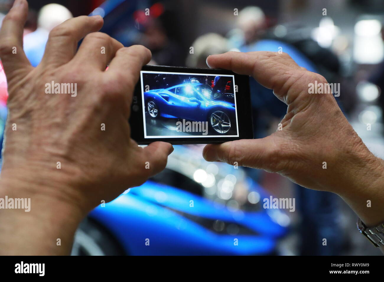Geneva, Switzerland. 07th Mar, 2019. GENEVA, SWITZERLAND - MARCH 7, 2019: The Ferrari stand at the 89th Geneva International Motor Show. Sergei Fadeichev/TASS Credit: ITAR-TASS News Agency/Alamy Live News - Stock Image