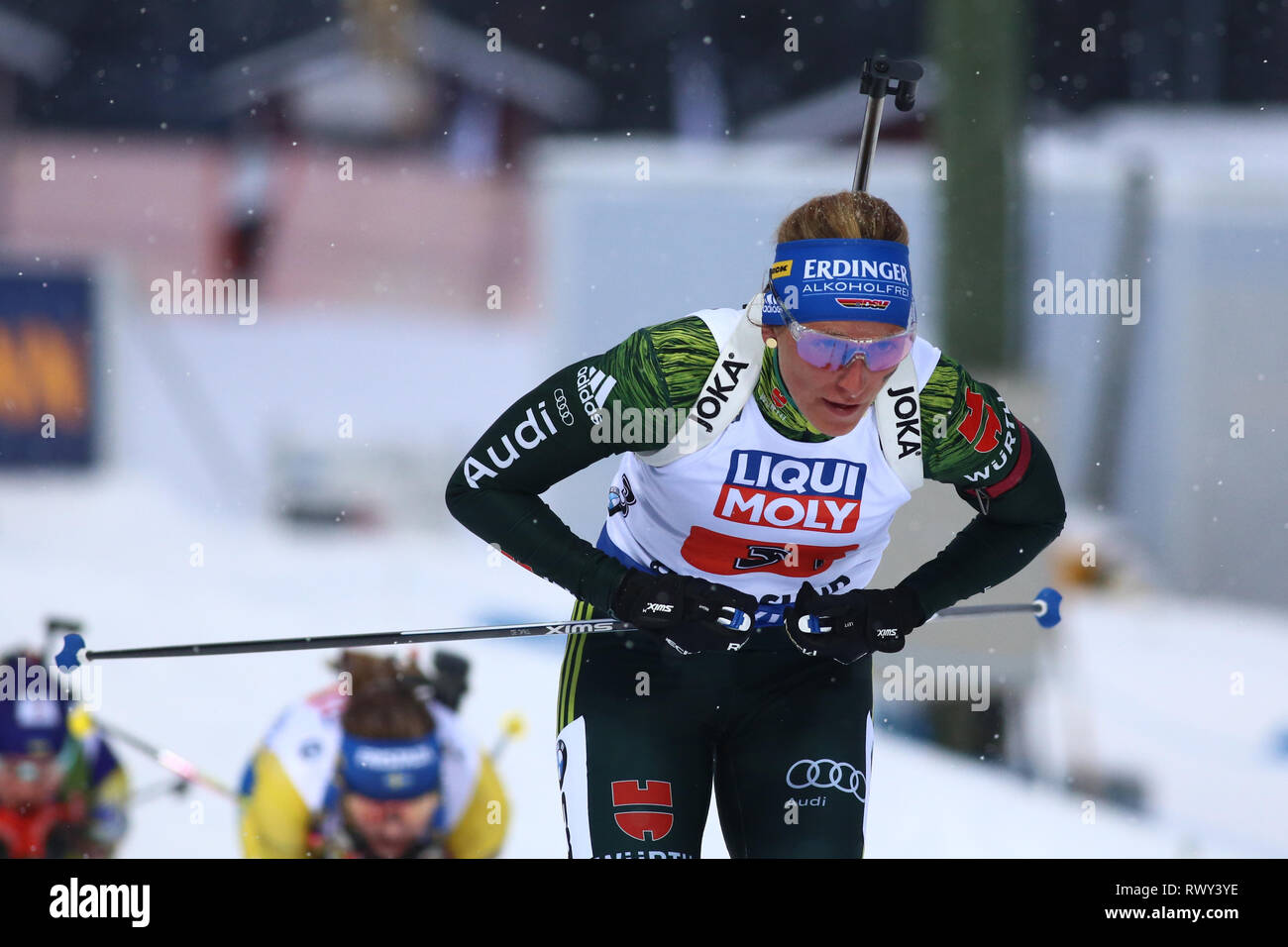 Ostersund, Sweden. 7th Mar, 2019. IBU World Championships Biathlon, mixed relay; Vanessa Hinz (GER) in action Credit: Action Plus Sports/Alamy Live News - Stock Image