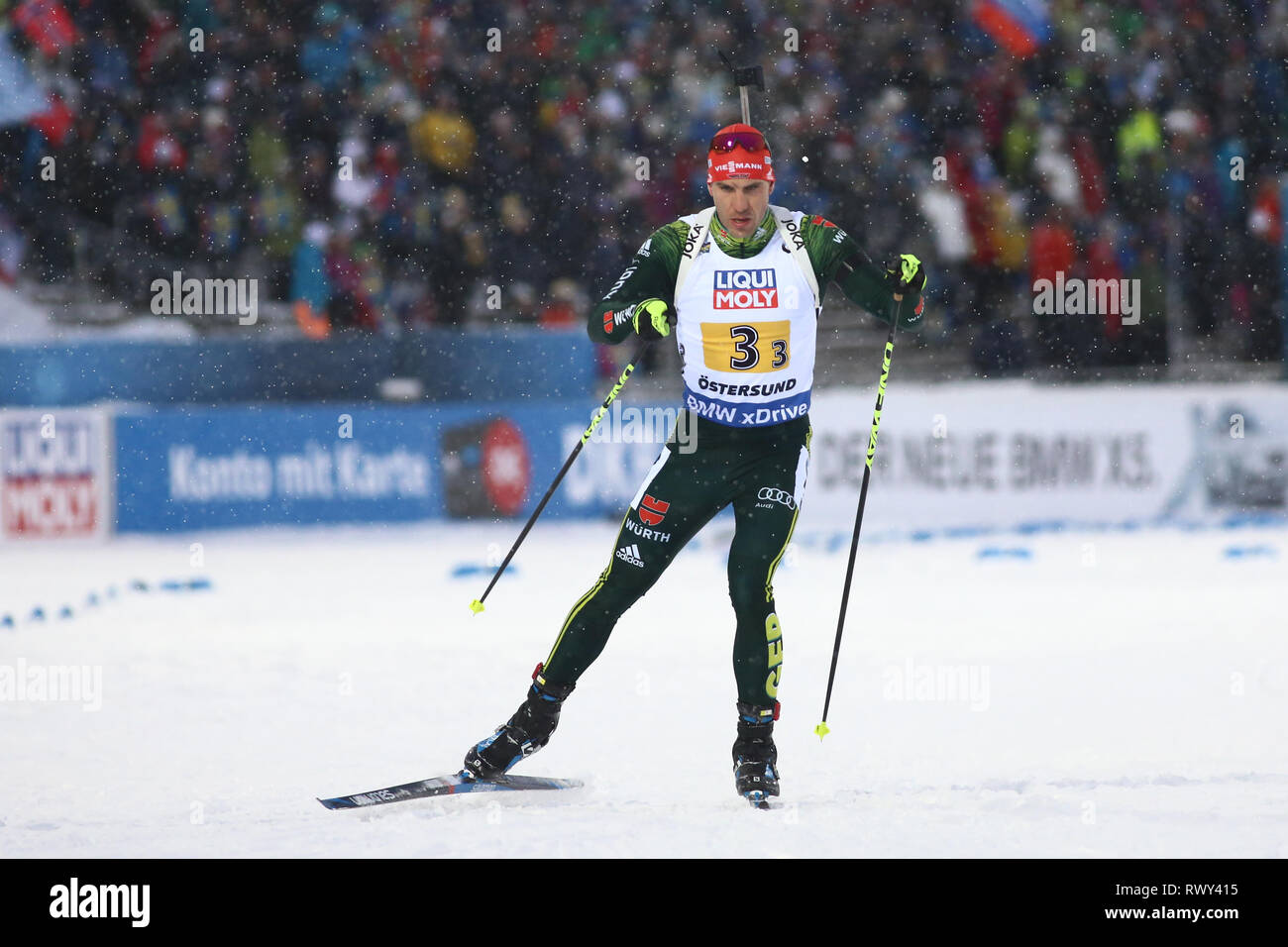 Ostersund, Sweden. 7th Mar, 2019. IBU World Championships Biathlon, mixed relay; Arnd Peiffer (GER) in action Credit: Action Plus Sports/Alamy Live News - Stock Image