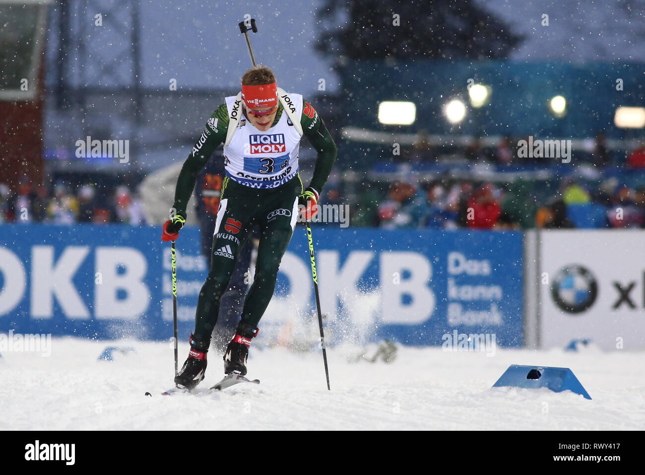 Ostersund, Sweden. 7th Mar, 2019. IBU World Championships Biathlon, mixed relay; Benedikt Doll (GER) in action Credit: Action Plus Sports/Alamy Live News - Stock Image