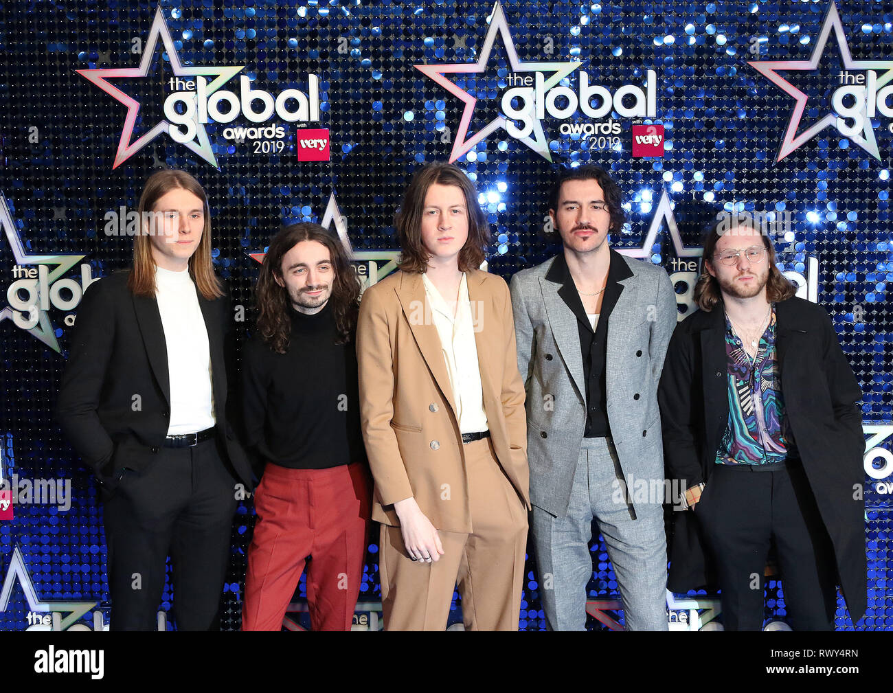 London, UK. 07th Mar, 2019. Blossoms, Tom Odgen, Charlie Salt, Joe Donovan, Josh Dewhurst, Miles Kellock, The Global Awards with Very.co.uk, Eventim Apollo, Hammersmith, London UK, 07 March 2019, Photo by Richard Goldschmidt Credit: Rich Gold/Alamy Live News - Stock Image