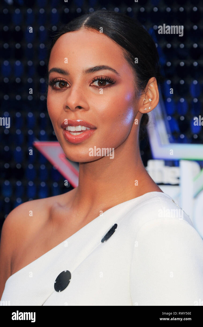LONDON, UK. March 07, 2019: Rochelle Humes arriving for the Global Awards 2019 at the Hammersmith Apollo, London. Picture: Steve Vas/Featureflash - Stock Image