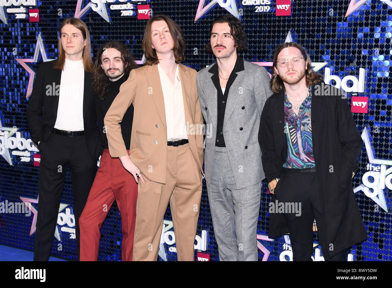 London, UK. 07th Mar, 2019. LONDON, UK. March 07, 2019: Blossoms arriving for the Global Awards 2019 at the Hammersmith Apollo, London. Picture: Steve Vas/Featureflash Credit: Paul Smith/Alamy Live News - Stock Image