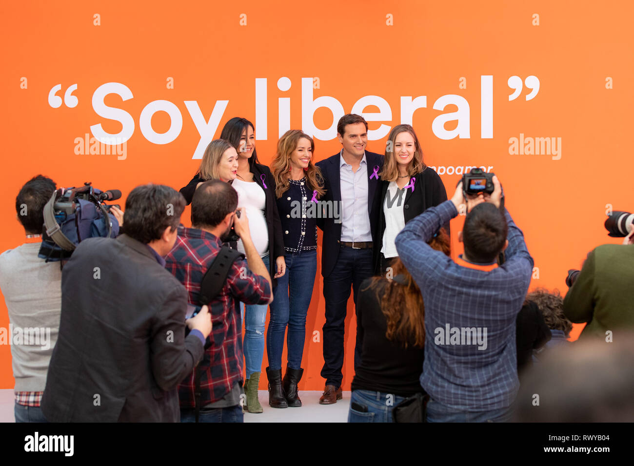 Madrid, Spain. 08th Mar, 2019. The president of Ciudadanos (Cs), Albert Rivera, accompanied by the head of the Women and LGTBI Area of the formation, Patricia Reyes (3L); the Secretary of Youth of Cs, Melisa Rodríguez (R); the candidate for mayor of Madrid and spokesperson for Cs Madrid, Begoña Villacís (2L); and the culture spokesperson of the party, Marta Rivera (1L) makes an institutional declaration on the occasion of Women's Day. In addition, you will discover a quote by Clara Campoamor written on one of the walls of the headquarters. Credit: Jesús Hellin/Alamy Live News - Stock Image