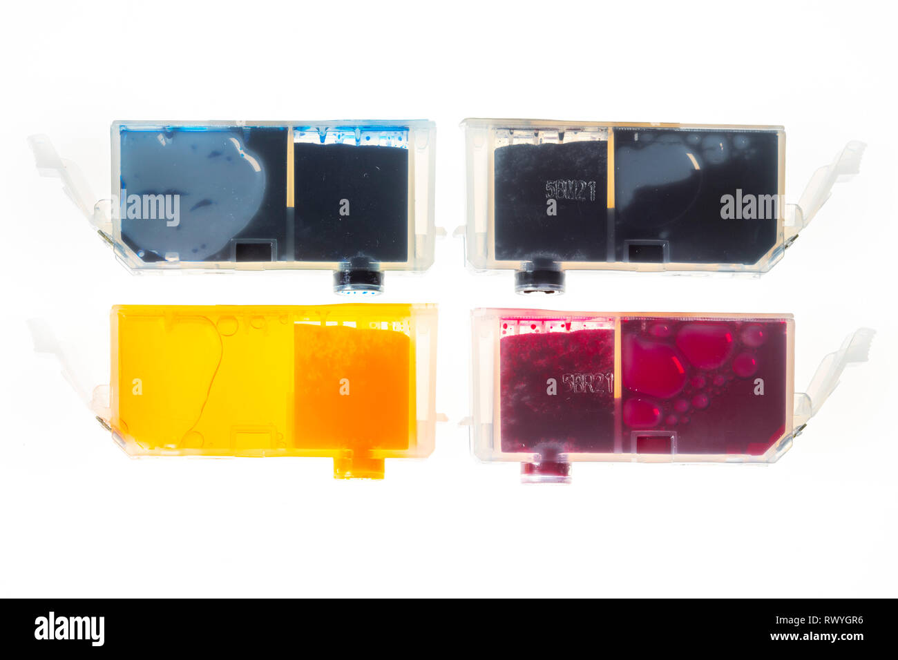 Printer Ink Cartridges, Full, - Stock Image