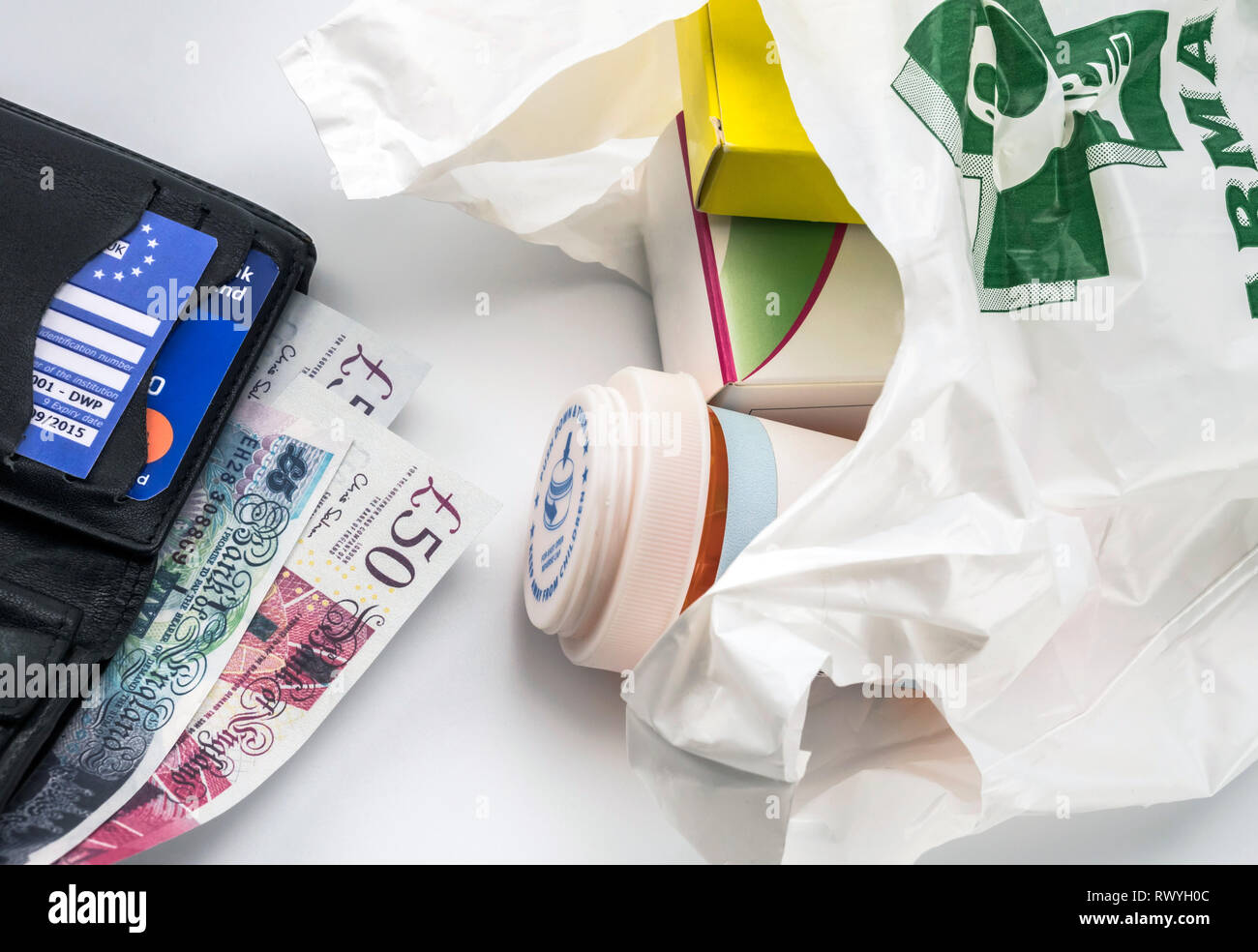 European health insurance card in a wallet along with several pounds sterling and medicines in a bag, concept of medical increase in the crisis of the - Stock Image