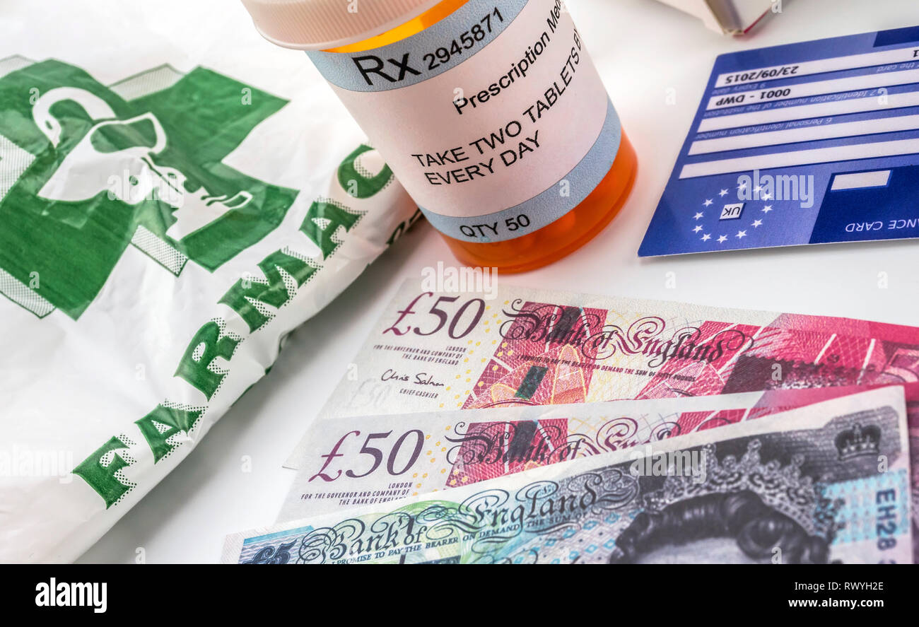 European health insurance card along with several capsules, concept of medical increase in the crisis of the brexit, conceptual image, horizontal comp - Stock Image