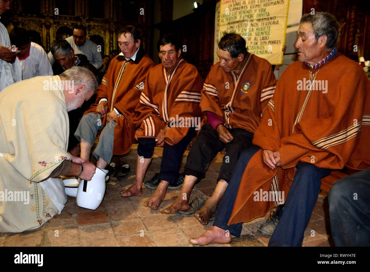 Recreation washing the feet of the apostles - Holy Week in the Sanctuary Ntra Sra Asuncion in CHACAS . Department of Ancash.PERU            										 - Stock Image