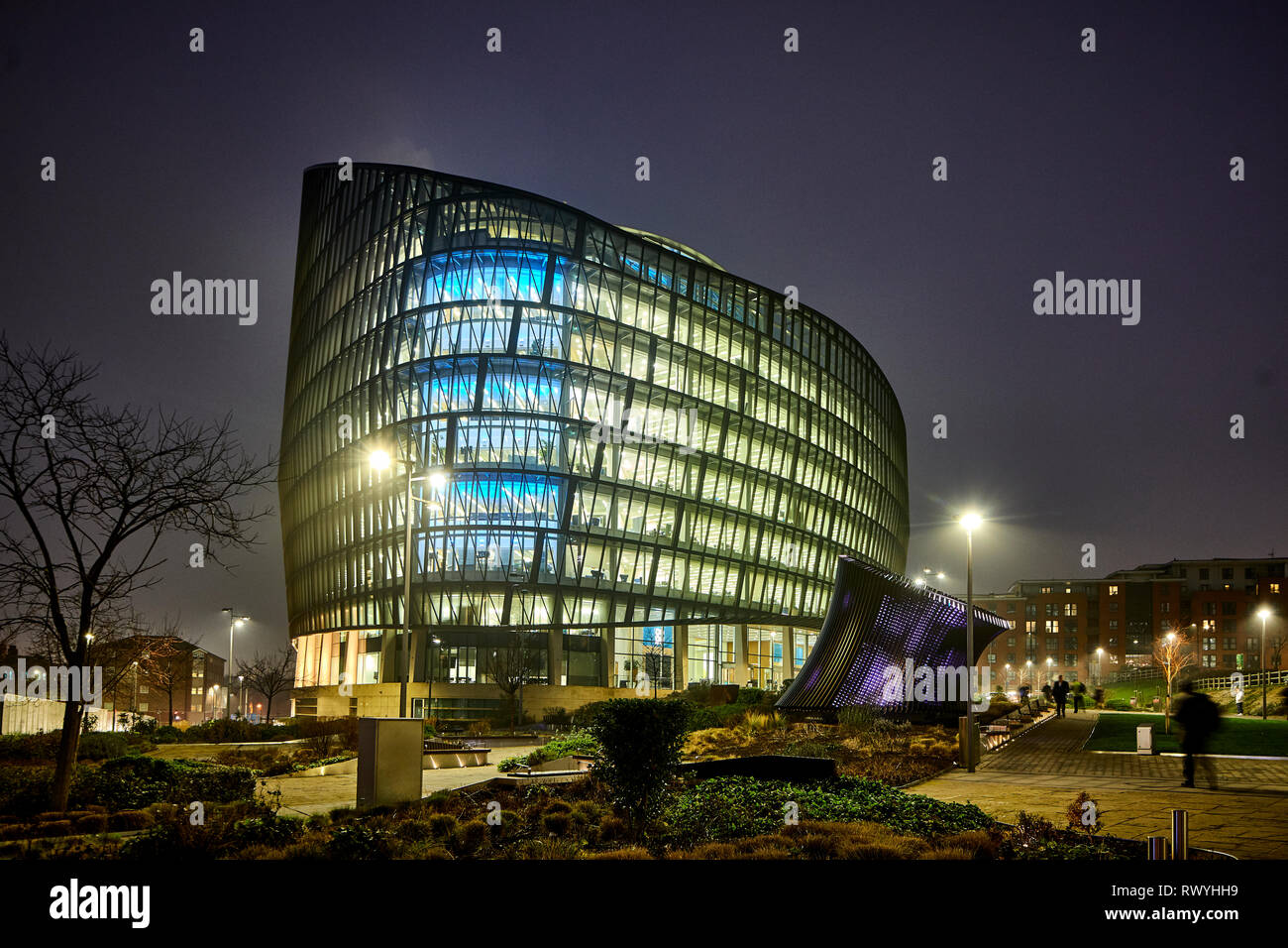 At night the NOMA development One Angel Square landmark head office of the Co-operative Group,  stainable energy credentials architecture Stock Photo