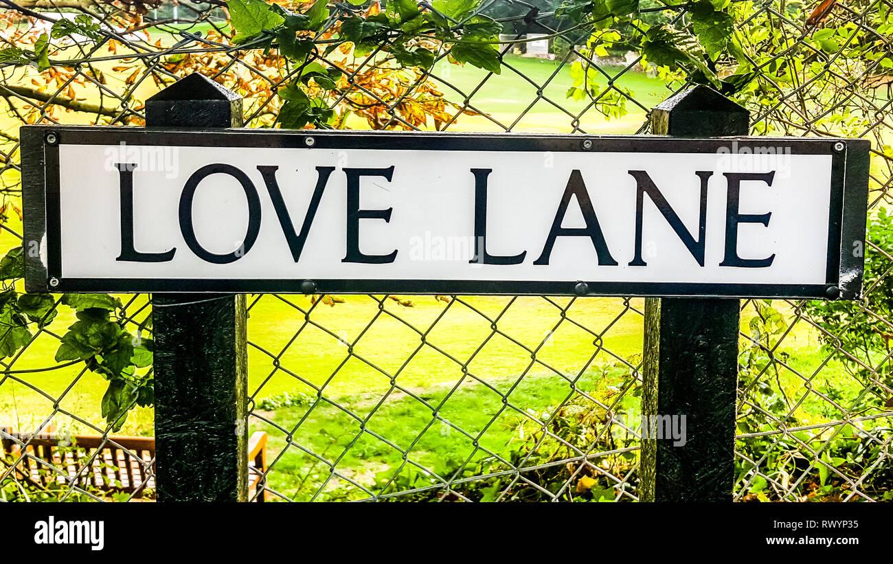 Isle of Wight, United Kingdom - August 28, 2018:  Love lane street sign - Stock Image