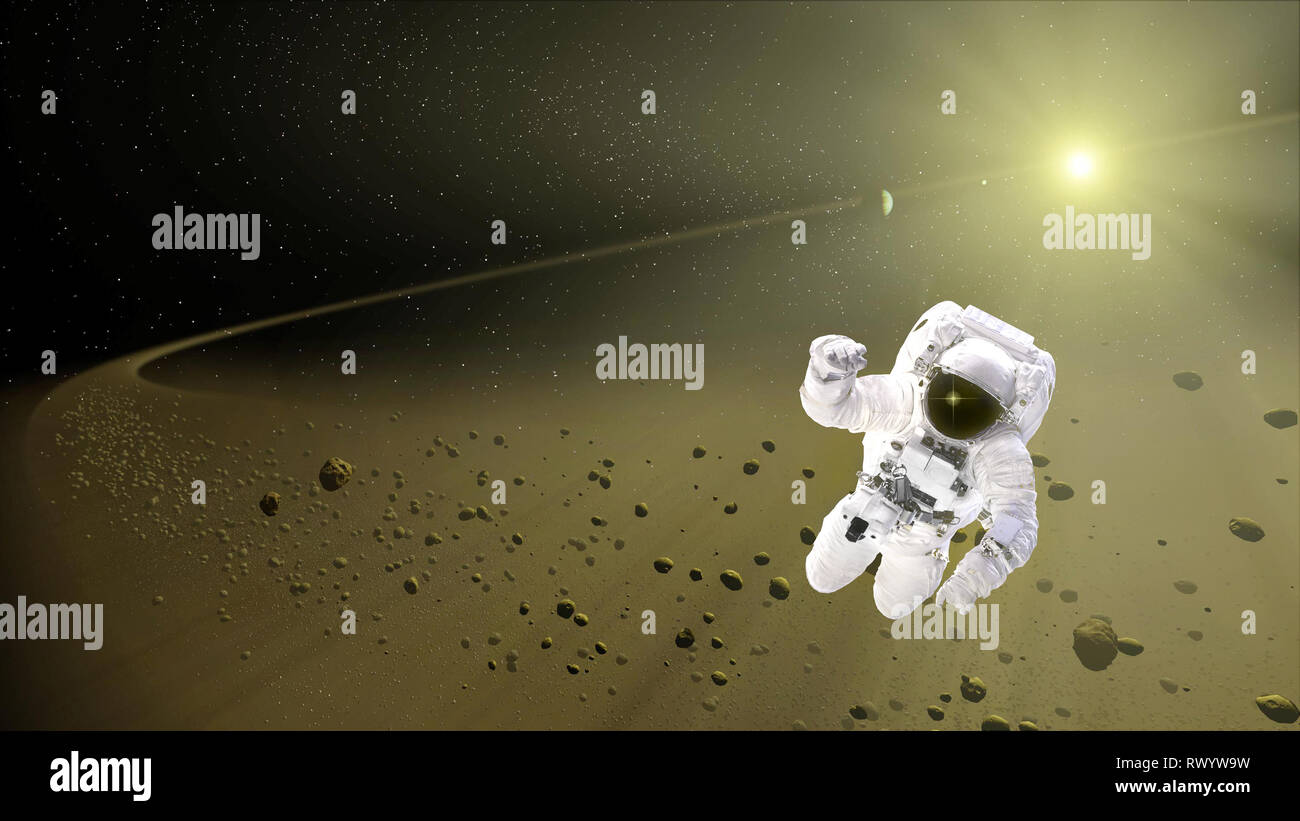 Astronaut floating in outer space. Space explorer. Spaceman in a spacesuit. Meteorite shower. Some elements of this image furnished by NASA - Stock Image