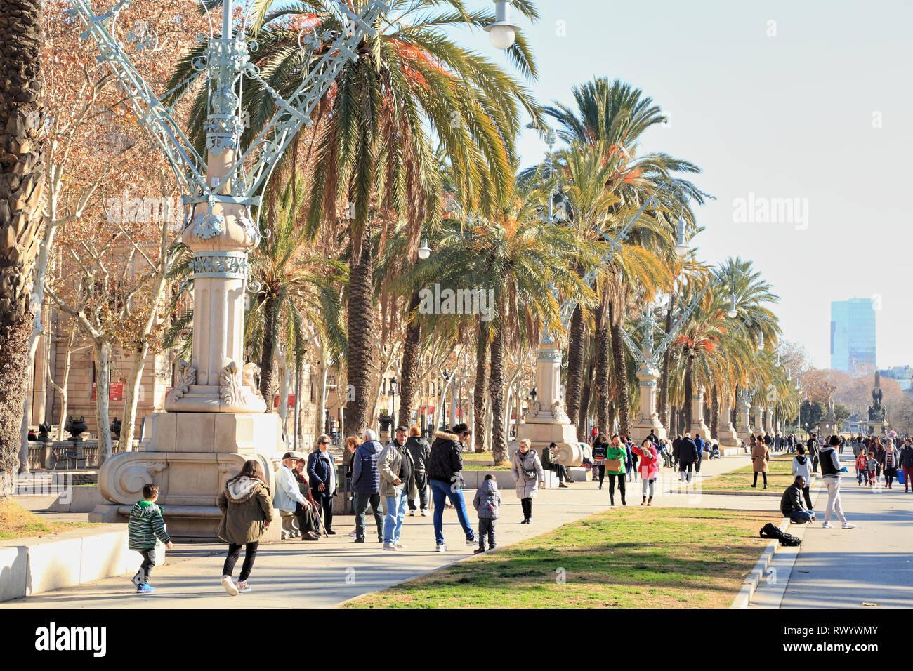 Parc de la Ciutadella, Passeig de Lluís Companys, Barcelona - Stock Image