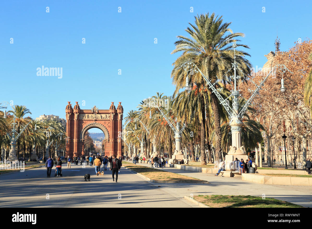 Arc de Triomf, Parc de la Ciutadella, Passeig de Lluís Companys, Barcelona - Stock Image