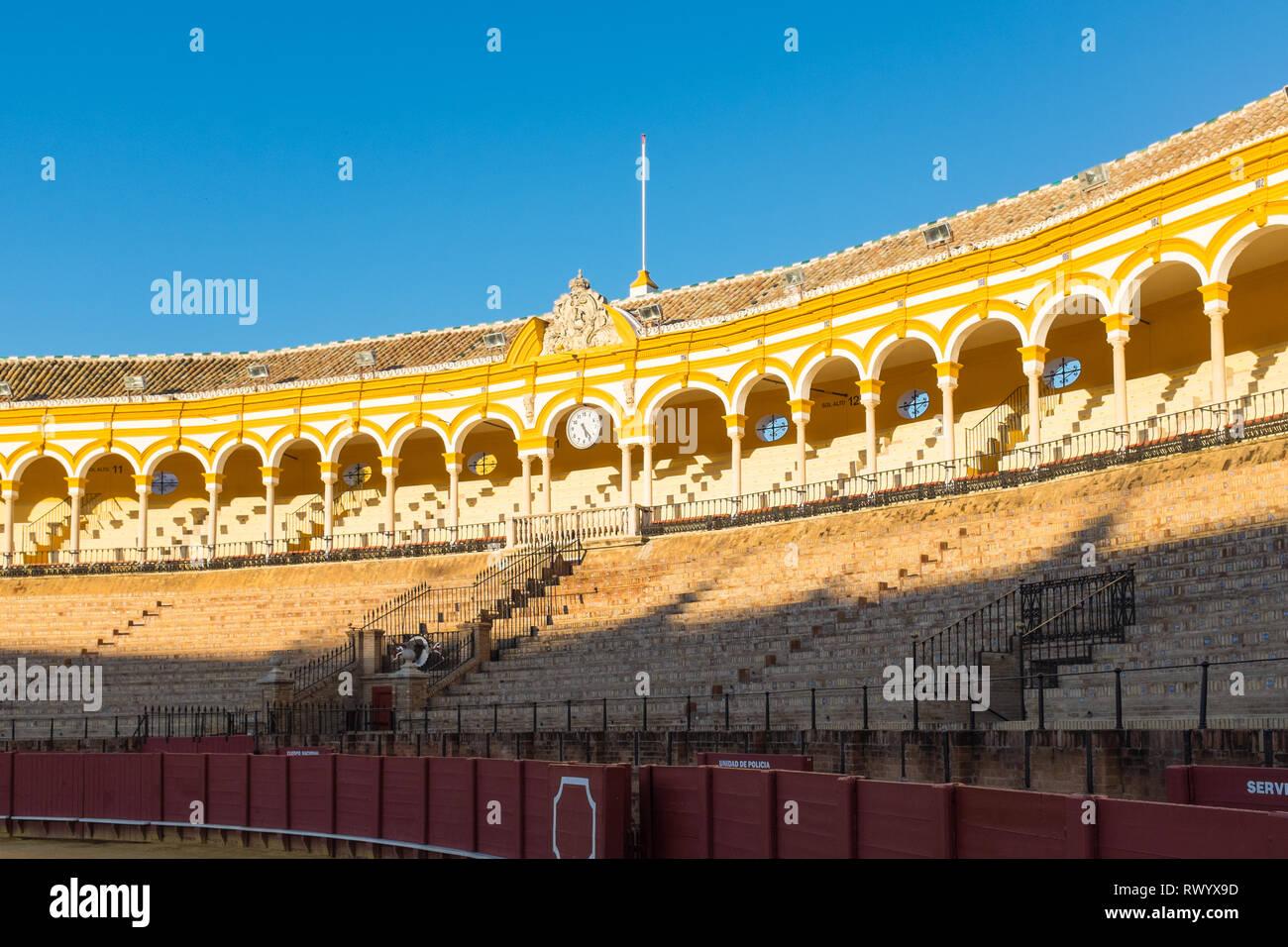 Plaza de toros de la real maestranza de caballería de Sevilla or Seville Bullring arena - Stock Image