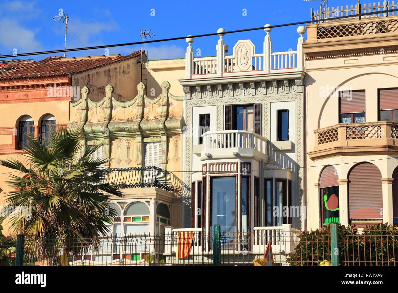 Building Facades on the streets of Vilassar de Mar, Barcelona - Stock Image