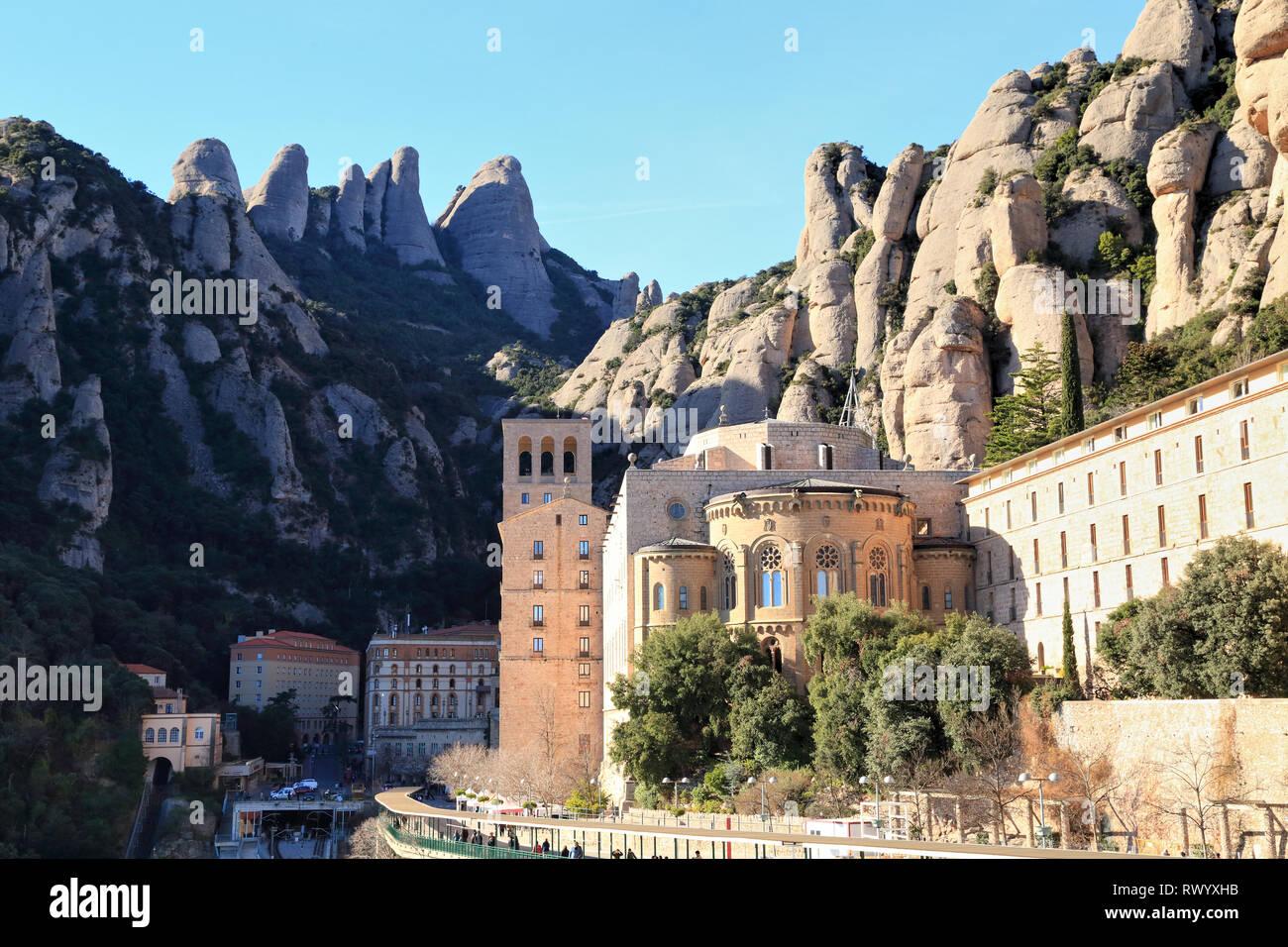 Abbey of Montserrat monastery, Santa Maria de Montserrat, Catalonia, Spain Stock Photo
