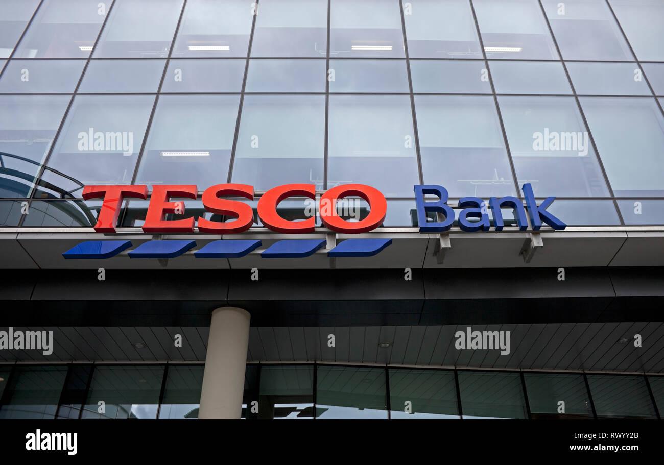 Tesco Bank, Renfield Street, sign, Glasgow Scotland, UK - Stock Image