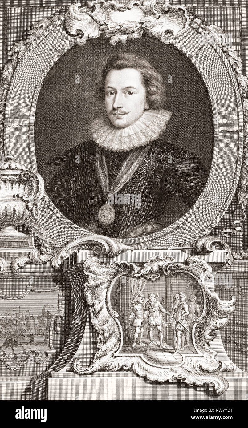 George Villiers, 1st Duke of Buckingham aka Sir George Villiers, 1592 - 1628.  English statesman.  From the 1813 edition of The Heads of Illustrious Persons of Great Britain, Engraved by Mr. Houbraken and Mr. Vertue With Their Lives and Characters. - Stock Image