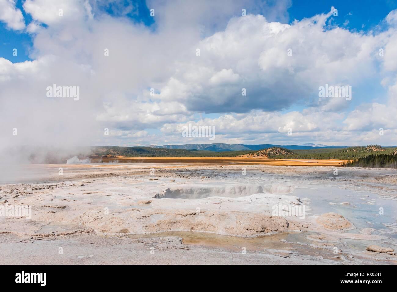 Steaming Hot Spring, Black Sand Basin, Yellowstone National Park, Wyoming, USA - Stock Image