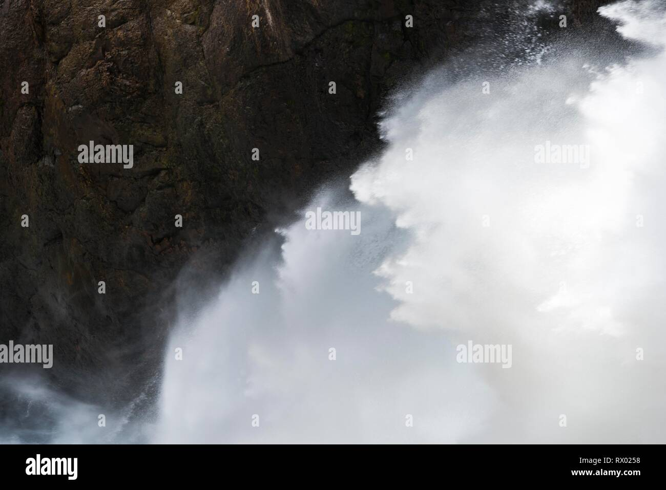 Detailed view, falling water, Lower Yellowstone Falls, waterfall in a gorge, Grand Canyon of the Yellowstone River - Stock Image