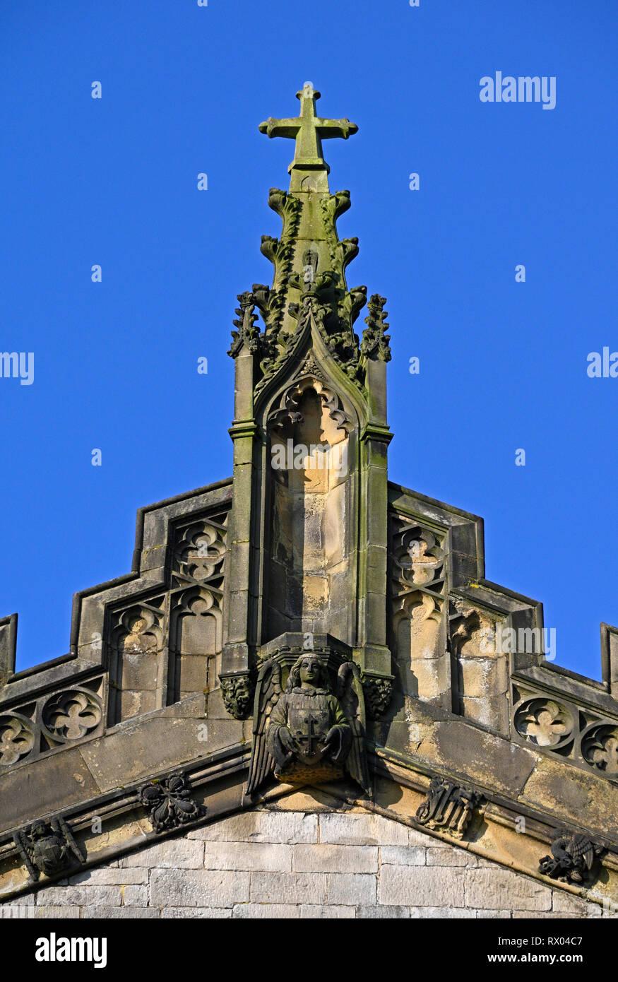 Detail of East End with Angel. Holy Trinity, Kendal Parish Church. Kirkland, Kendal, Cumbria, England, United Kingdom, Europe. Stock Photo