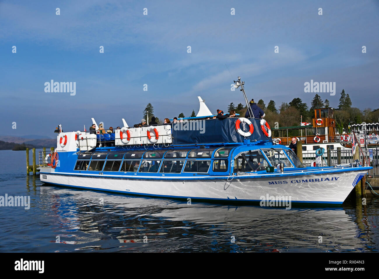 Miss Cumbria IV. Diesel launch. Windermere Lake Cruises. Windermere, Lake District National Park, Cumbria, England, United Kingdom, Europe. - Stock Image