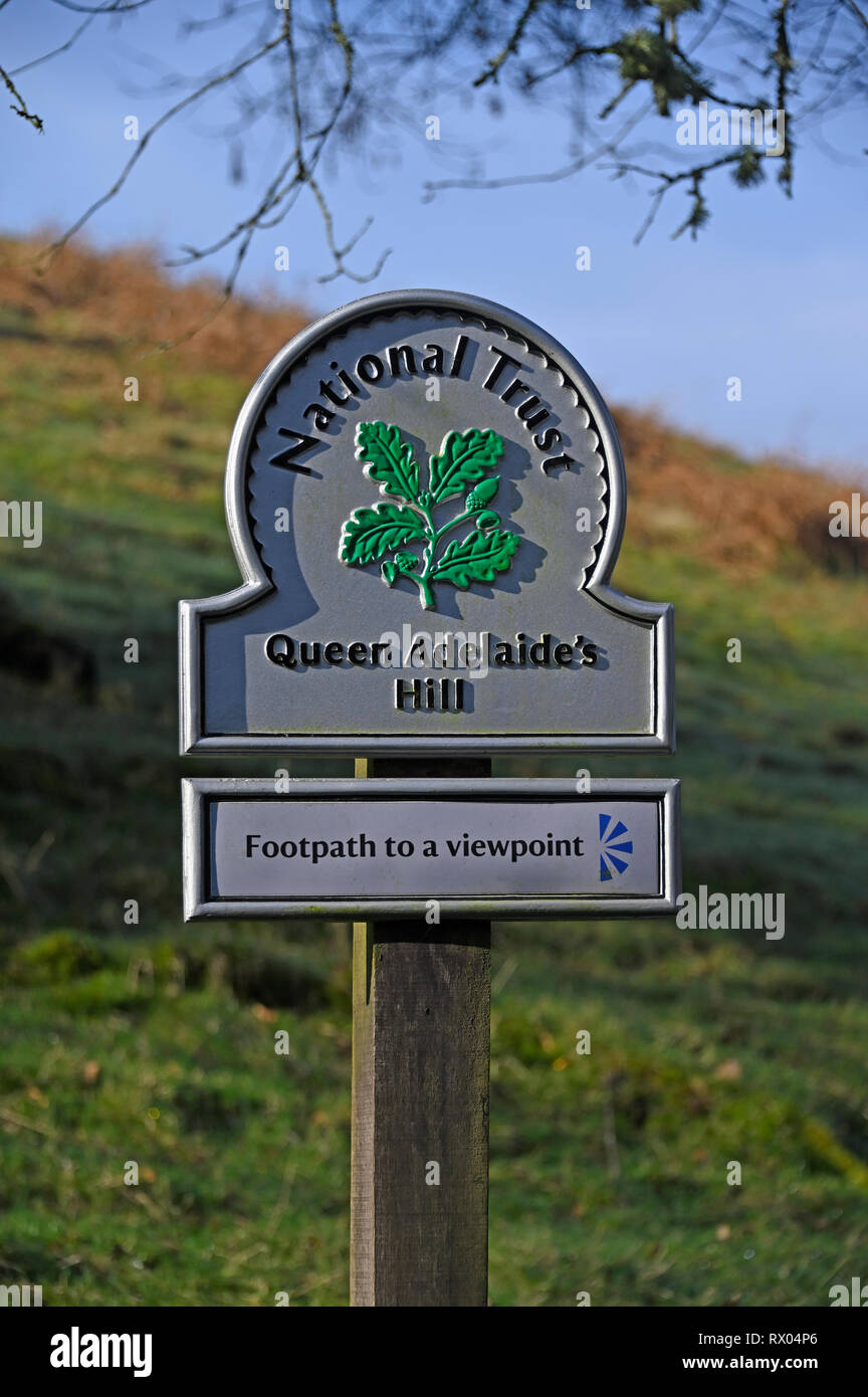 National Trust sign. Queen Adelaid's Hill. Windermere, Lake District National Park, Cumbria, England, United Kingdom, Europe. Stock Photo
